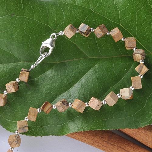 Landschaftsjaspis Halskette Würfel mit Silberperlen 925