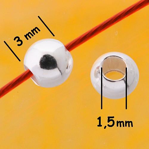 Quetschperlen 3.0x1.5mm Kugel stabil Schwere Silberperlen Silber 925