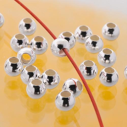 Quetschperlen 3.0x1.5mm Kugel leichte Ausführung Silber 925