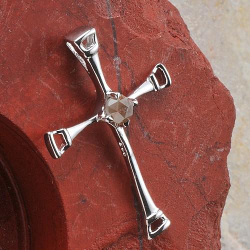 Diamant Silberkreuz 925er Silber Rohdiamant Kreuz Anhänger