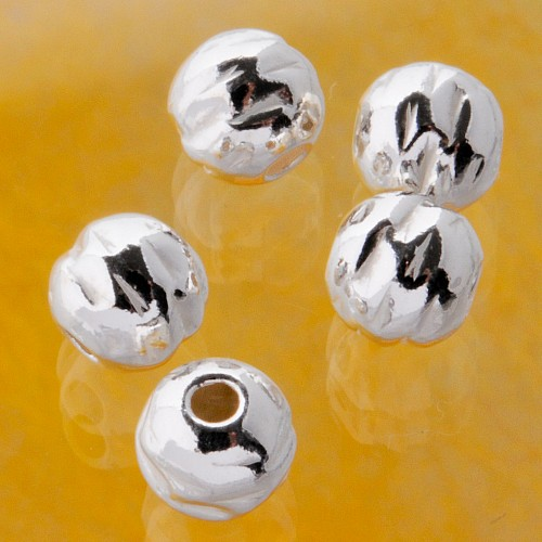 Silverbead, 6 mm, Round Pin, hammered silver 925 Bead