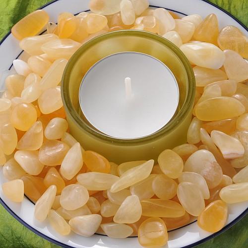Orangen Calcit Trommelsteine Klein S 250Gramm 10/20mm