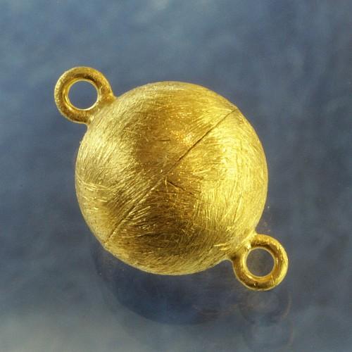 Kugelschließe vergoldet gebürstet 10 mm Magnetverschluss Silber925