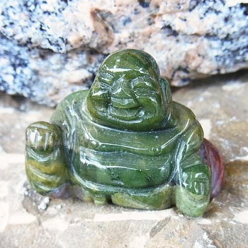 Moosachat Buddha Edelstein Gravur