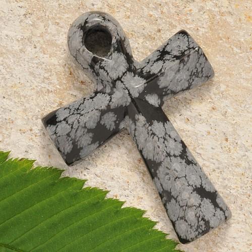 Edelstein Ankh Schneeflocken Obsidian