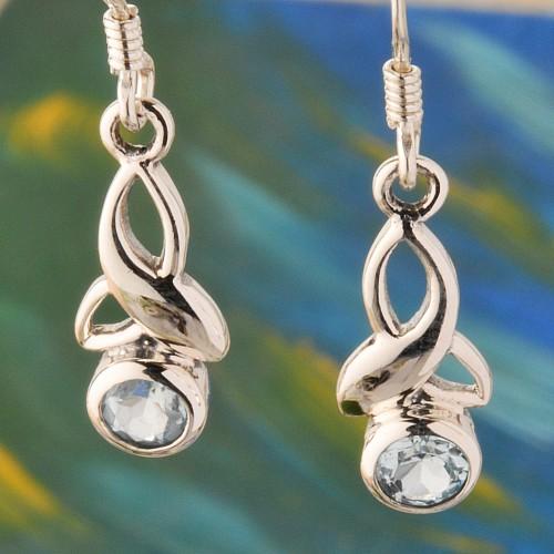 Kelten Silber Ohrringe Topas Facettiert