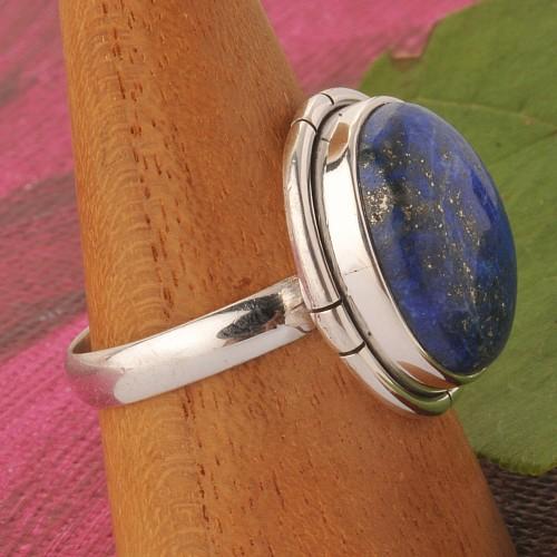 Lapislazuli Edelstein Ring Silber Oval Grösse 57/58