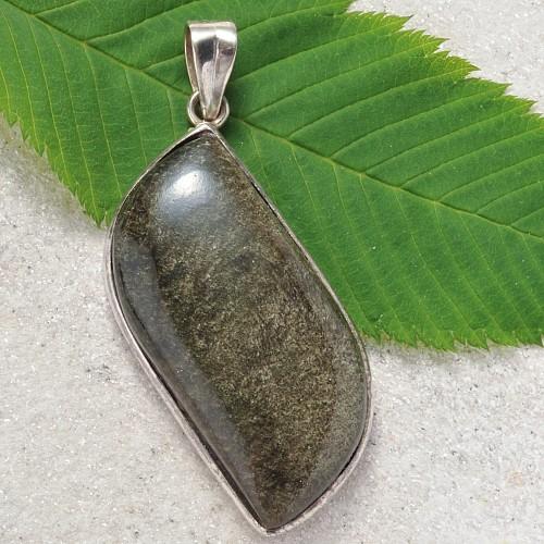 Obsidian Gold Silberanhaenger