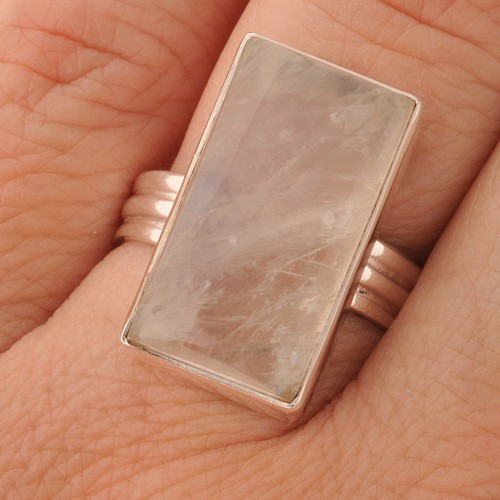 Rainbow Moonstone Silver Ring Rectangle Shape