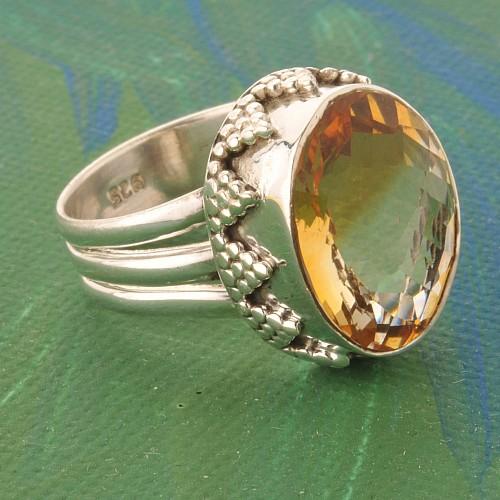 Citrinring Silber 925 Edelstein Ring mit Zitrin