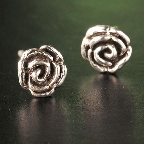 Rose Silberohrstecker
