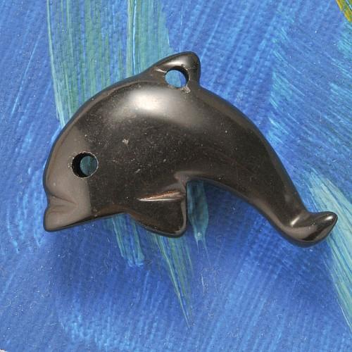 Onyx Delfin Anhänger groß