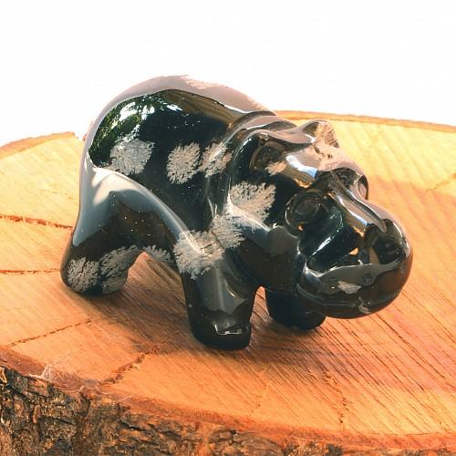 Snowflake Obsidian Hippopotamus Figure
