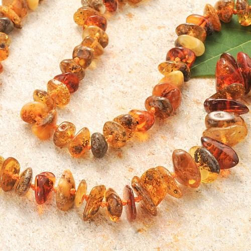 Amber Necklace Chips Long