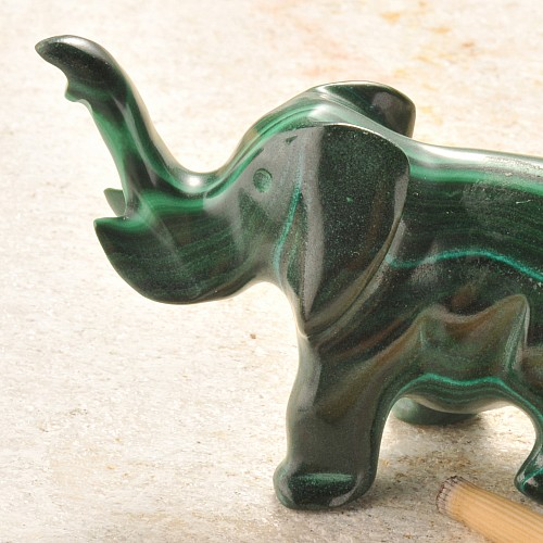 Malachitfigur Elefant Unikat