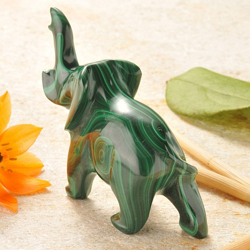Malachit Tierfigur Elefant Unikat