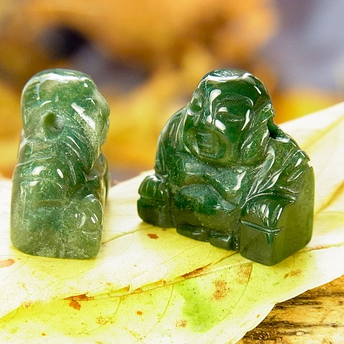 Moosachat Buddha Anhaenger Edelsteinfigur