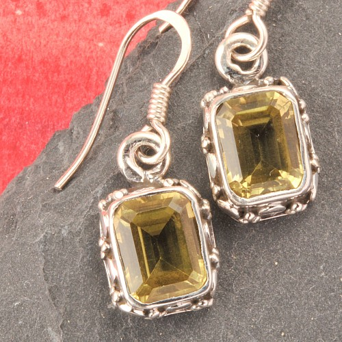 Prasiolith Gemstone Earring Rectangle