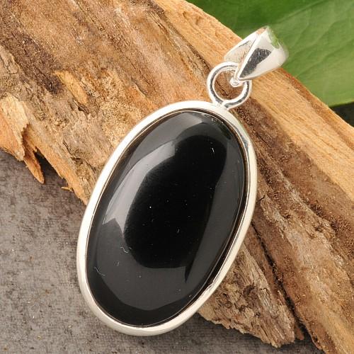 Schwarzer Obsidian Schmuck Anhaenger 23-26mm hoch
