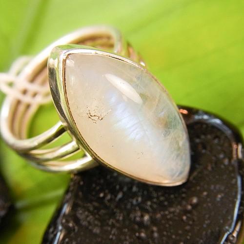 Rainbow Moonstone Silver Ring
