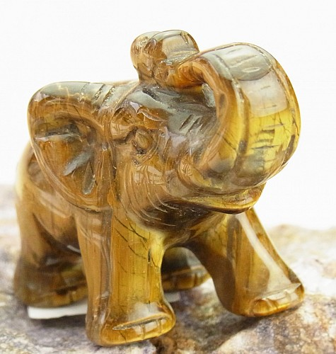 Edelsteinfigur Tigerauge Elefant
