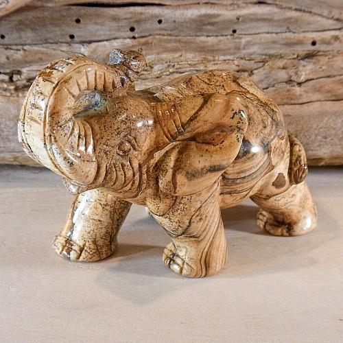 Landschaftsjaspis Elefant Edelsteinfigur