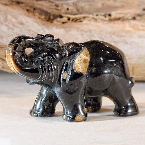 Edelsteinfigur Falkenauge Elefant