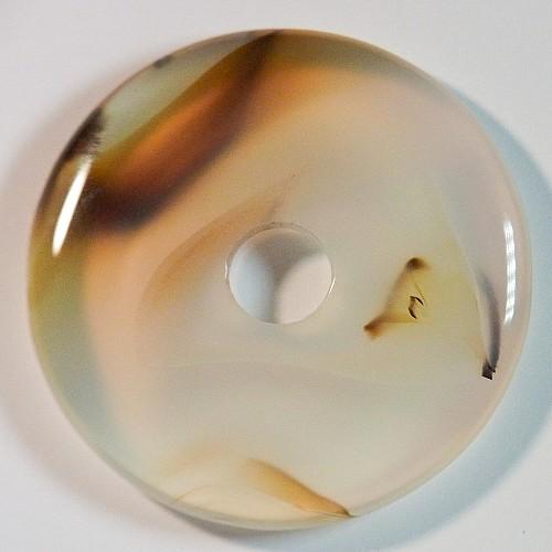 Achat Donut 30mm grau-gelb Achat Anhänger Scheibe A