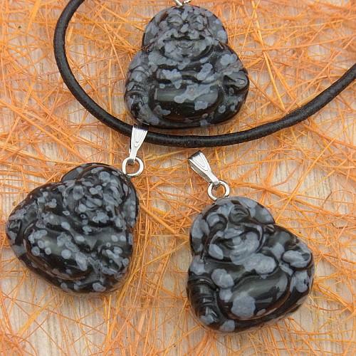 Schneeflocken Obsidian Buddha Anhänger Klein