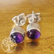 Amethyst Stud Earrings round 5mm sterling silver 925