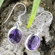 Ear Pendant oval Amethyste faceted