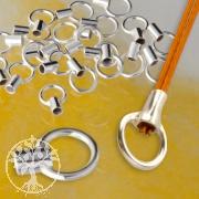 Endkappe Crimp oder Kleben 1,5mm Innen Quetschverschluß Endstück 925 Silber
