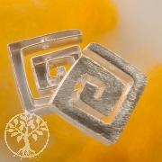 Silber Perle Eckspirale gebürstet 22 mm Silber 925