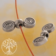 Silberperle Doppel Flügel Perle Disc Oxi Spirale