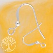 Ear hook flat with silverbead 2.0mm light weight