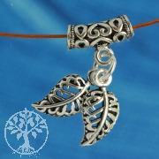 Silver Tube with Leaves Charms