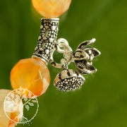 Silver Tube with Lotus Charms