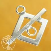 Knebelverschluss Quadrat Ecke 12/21mm Ring/Stab Silber 925