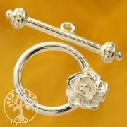 Knebel Silberverschluss Blüte 16/26mm Ring/Stab 925
