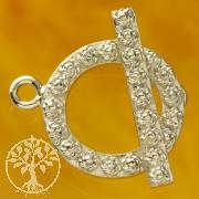 Stab Verschluss Rosen 18mm Ring 24mm Stab Silber 925