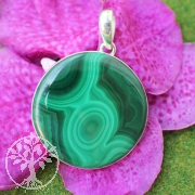 Malachite gemstone round with strong sterling silver pendant