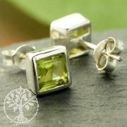Peridot stud earrings square sterling silver 925