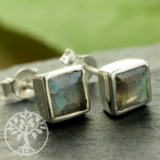 Labradorite square stud earrings sterling silver 925