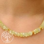 Prehnite faceted silver beads with gold plated and silver clasp
