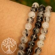 Turmalinquarz Armband Schwarzer Turmalin in Quarz schlanke Perlen 6mm A