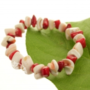 Mother of Pearl Coral Bracelet Red-White