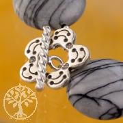 Knebelverschluss Blüte 18mm Ring 20mm Stab Silber 925