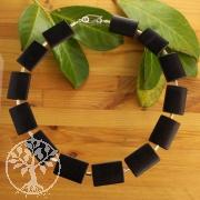 Onyx Halskette flach mit Silberperlen Sterling 925 Einzelstück Sonderanfertigung