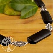 Onyx Halskette Sterling florales Silberblatt 925 Unikat