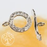 Stegverschluss gehämmert 14mm Ring 23mm Steg 925er Silber